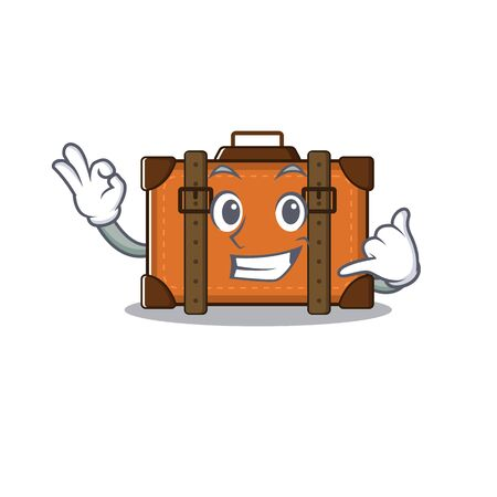 suitcase with in the cartoon call me shape vector illustration 向量圖像