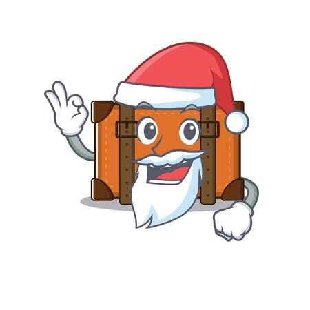 suitcase with in the cartoon santa claus shape vector illustration