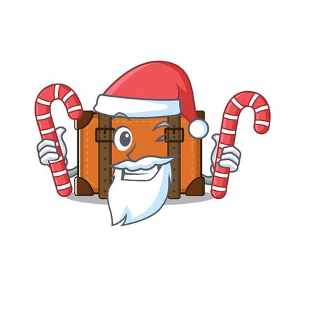 suitcase with in the cartoon santa bring candy shape vector illustration