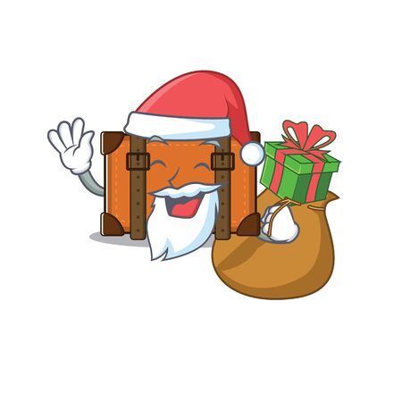 suitcase with in the cartoon santa bring gift shape vector illustration
