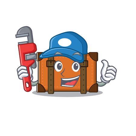 suitcase with in the cartoon plumber shape vector illustration 向量圖像