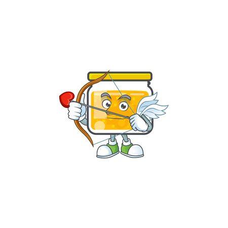 Sweet jam cartoon character with mascot cupid vector illustration Ilustrace