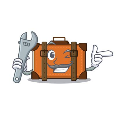 suitcase with in the cartoon shape mechanic vector illustration