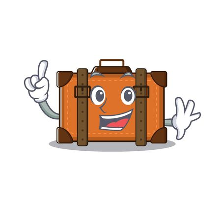 suitcase with in the cartoon finger shape vector illustration