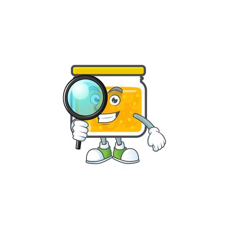 Cute jam in jar with character detective. Vector illustration