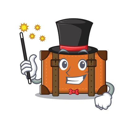 suitcase with in the cartoon magician shape vector illustration