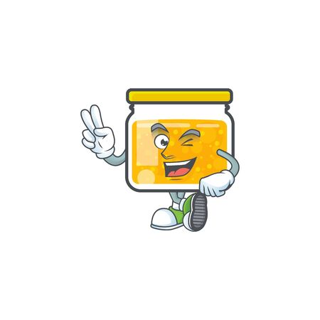 Cute jam in jar with character two finger. Vector illustration