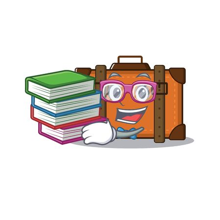 suitcase with in the cartoon student bring book shape vector illustration