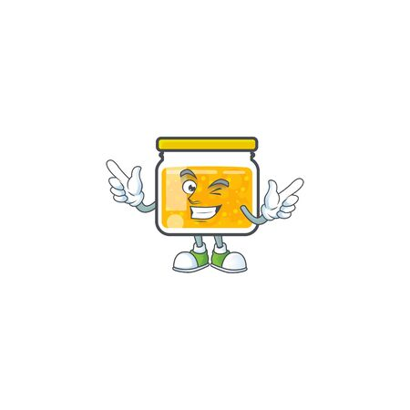 Cute jam in jar with character wink. Ilustrace
