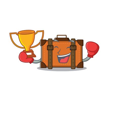suitcase with in the cartoon boxing winner shape vector illustration 向量圖像