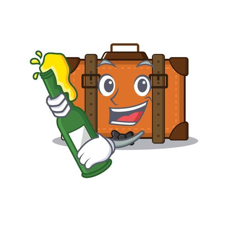 suitcase with in the cartoon bring beer shape vector illustration