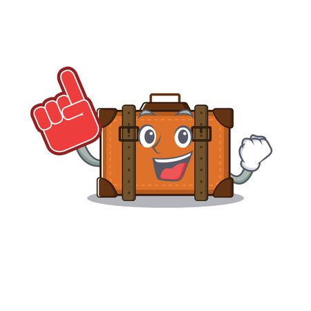 suitcase with in the cartoon foam finger shape vector illustration