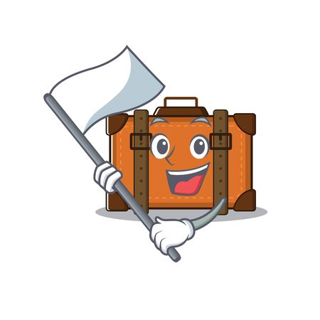 suitcase with in the cartoon bring flag shape vector illustration