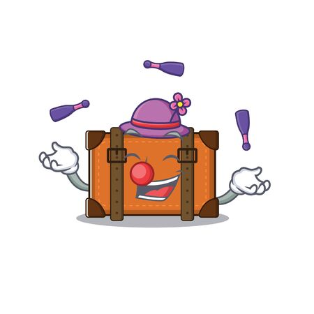 suitcase with in the cartoon juggling shape vector illustration 向量圖像