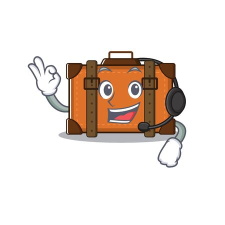 suitcase with in the cartoon with headphone shape vector illustration 向量圖像