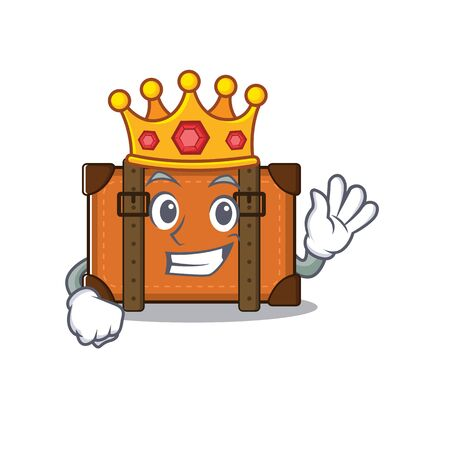 suitcase with in the cartoon king shape vector illustration 向量圖像