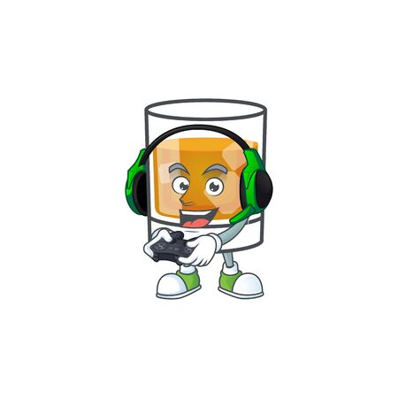 Liquor whiskey in the cartoon character bring gaming. Vector illustration