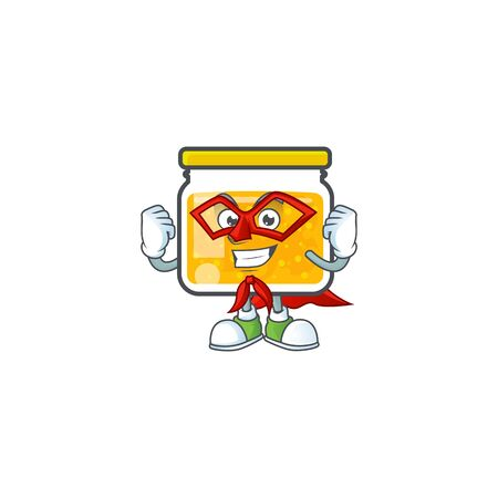 Cute jam in jar with character super hero. Ilustrace