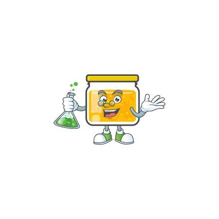 Cute jam in jar with character professor. Ilustração