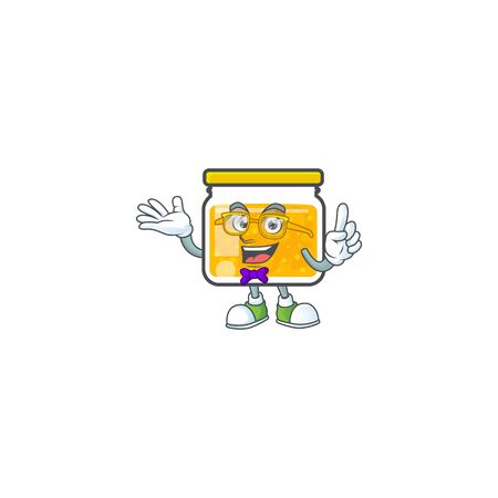 Cute jam in jar with character geek. Ilustrace