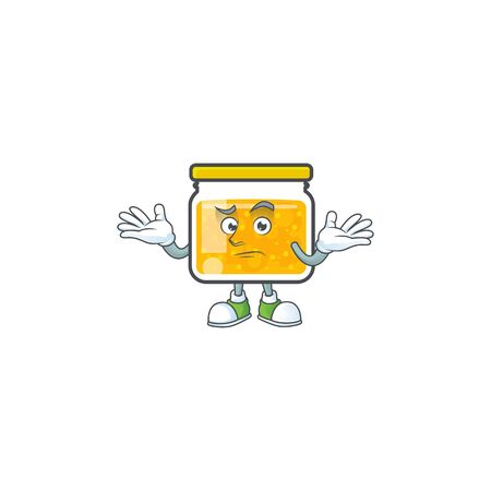 Cute jam in jar with character grinning.