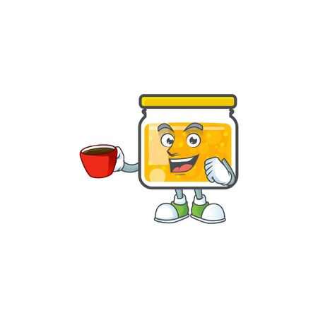 Cute jam in jar with character drinking in cup. Ilustrace