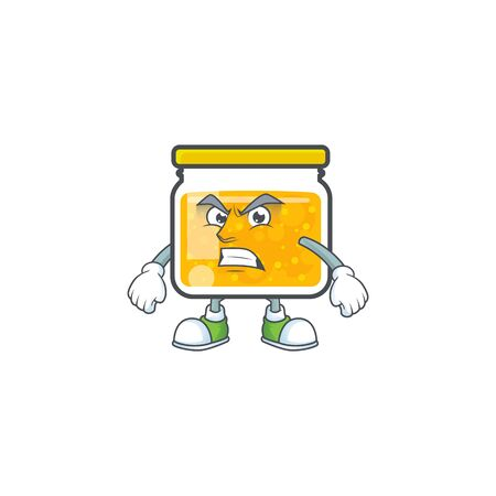 Cute jam in jar with character annoyed. Vector illustration