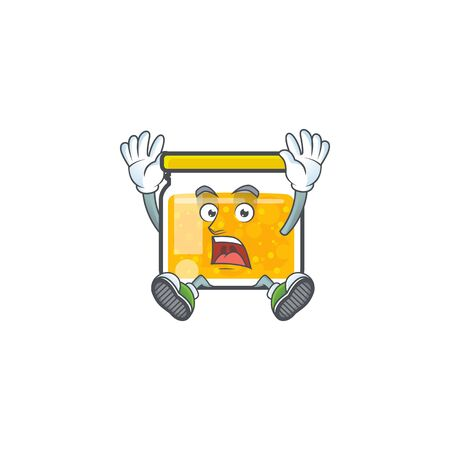 Cute jam in jar with character successful. Vector illustration