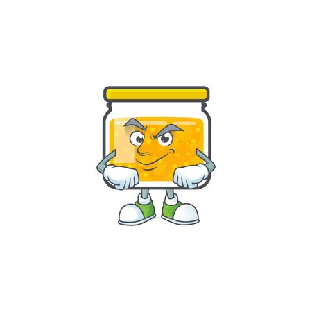 Cute jam in jar with character smirking. Vector illustration