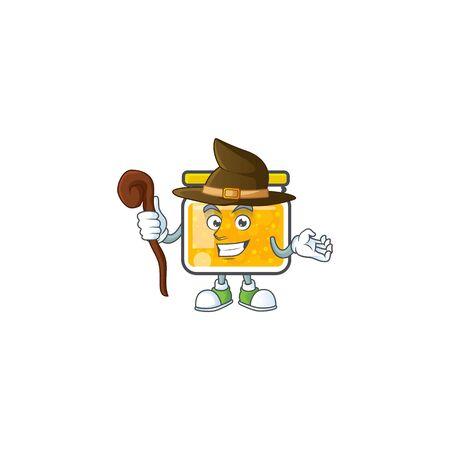 Jam with mascot witch on white background vector illustration Ilustracja