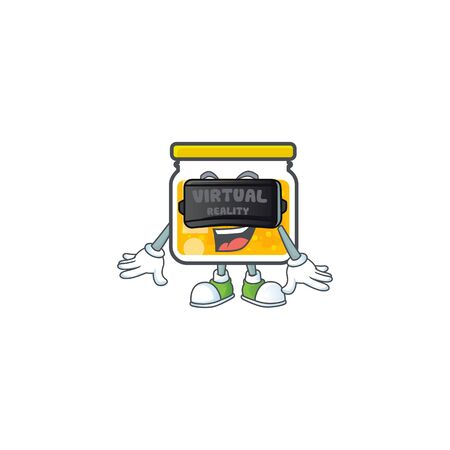 Jam with mascot virtual reality on white background vector illustration Illustration