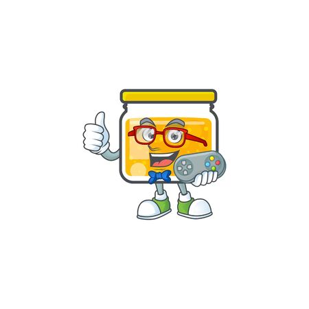 Jam with mascot holding gamer on white background vector illustration Illustration