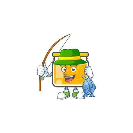 Jam with mascot fishing on white background vector illustration
