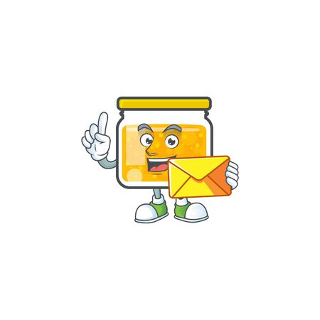 Cute jam in jar with character bring envelope. Vector illustration Ilustracja
