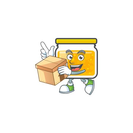 Cute jam in jar with character with bring box. Vector illustration Ilustrace