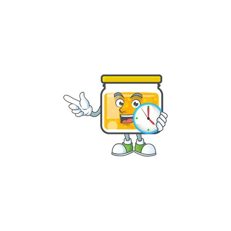 Cute jam in jar with character with bring clock. Vector illustration