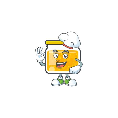 Cute jam in jar with character chef. Vector illustration