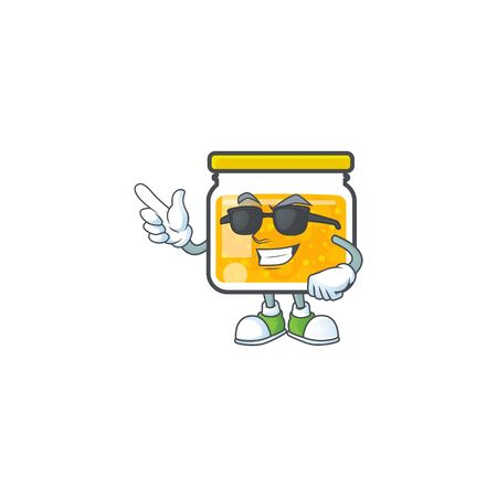 Cute jam in jar with character super cool. Vector illustration Ilustracja