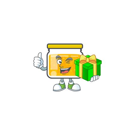 Jam with mascot holding gift on white background vector illustration Ilustracja