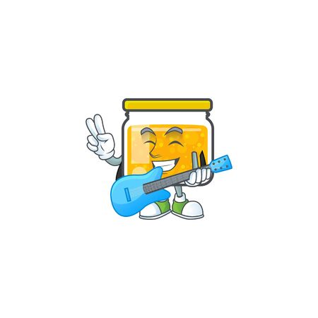 Jam with mascot with guitar on white background vector illustration Ilustracja