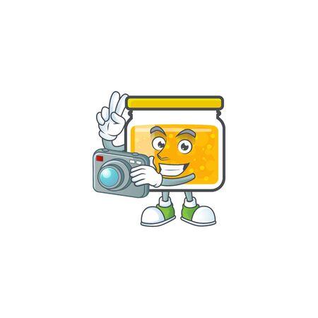 Jam with mascot photographer on white background vector illustration