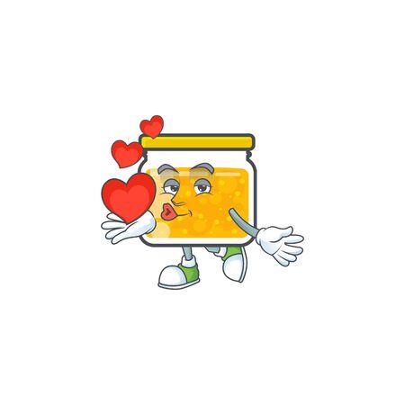Jam with mascot holding heart on white background vector illustration Illusztráció