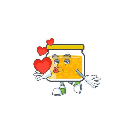 Jam with mascot holding heart on white background vector illustration Illustration