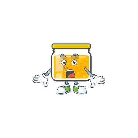 Jam with mascot surprised on white background vector illustration Ilustracja