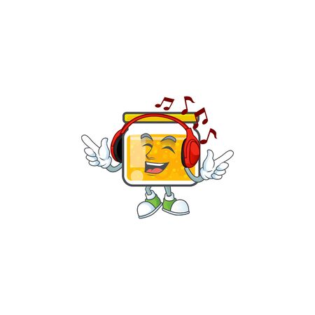 Jam with mascot listening music on white background vector illustration