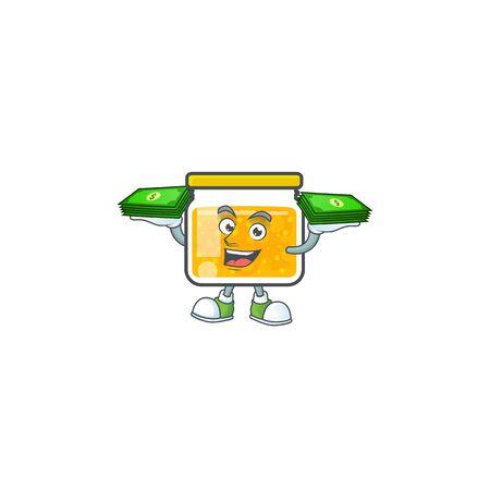 Jam with mascot holding money on white background vector illustration 일러스트
