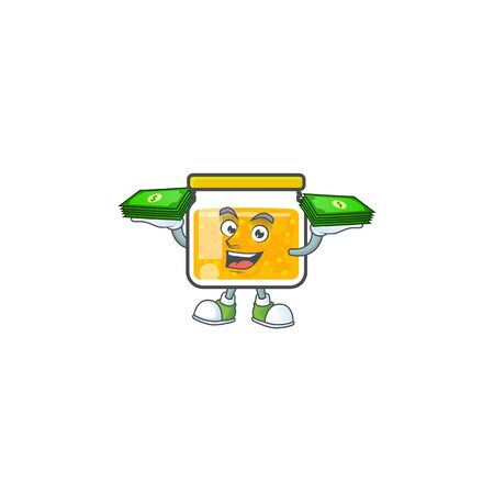 Jam with mascot holding money on white background vector illustration Illustration