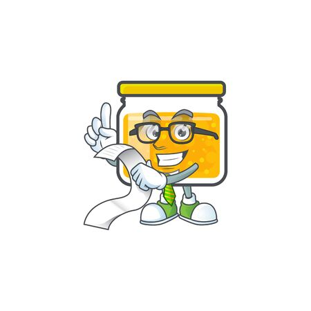 Jam with mascot holding bill on white background vector illustration