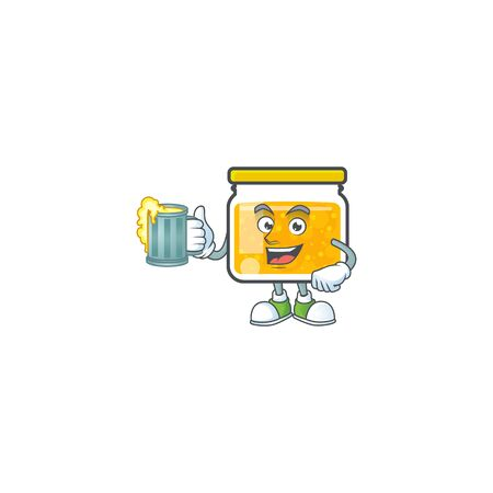 Jam with mascot holding juice on white background vector illustration