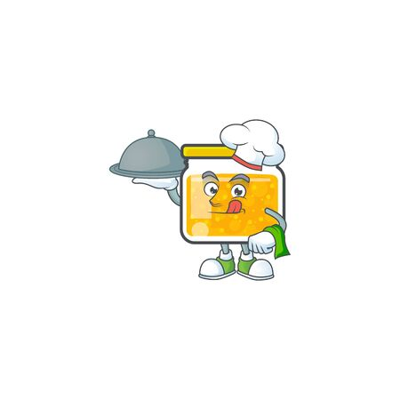 Jam with mascot chef holding food on white background vector illustration